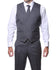 Zillo Grey Blue 3pc Vested Slim Fit Plaid Suit - Ferrecci USA