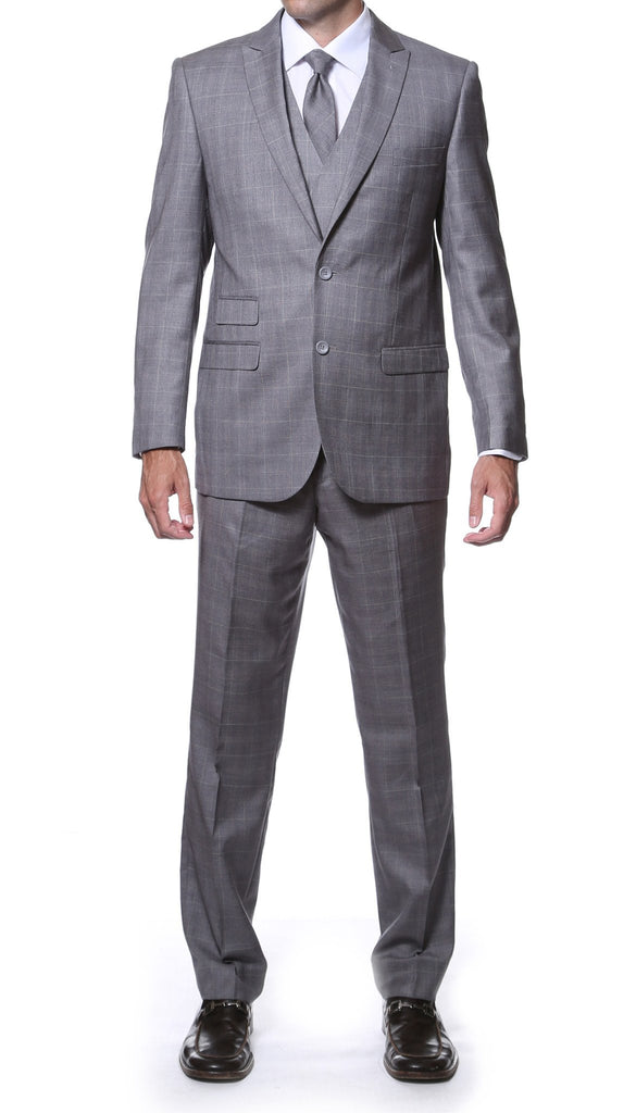 Zillo Grey 3pc Vested Slim Fit Plaid Suit - Ferrecci USA