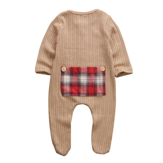 Plaid Patch Basic Romper - Brown