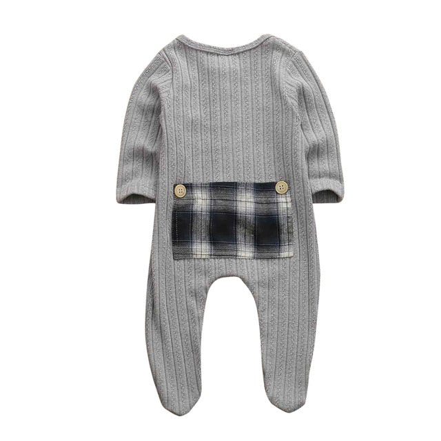 Plaid Patch Basic Romper - Gray