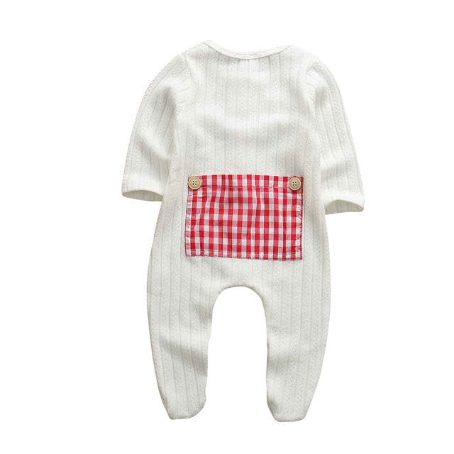 Plaid Patch Basic Romper - White