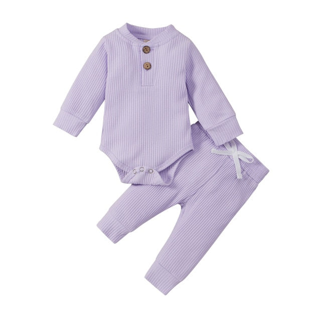 SPRING AUTUMN RIBBED SOLID CLOTHES - Lavender