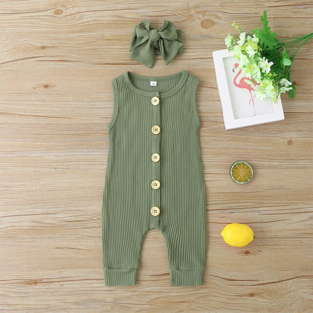 KARLEY BUTTON Romper - Army Green