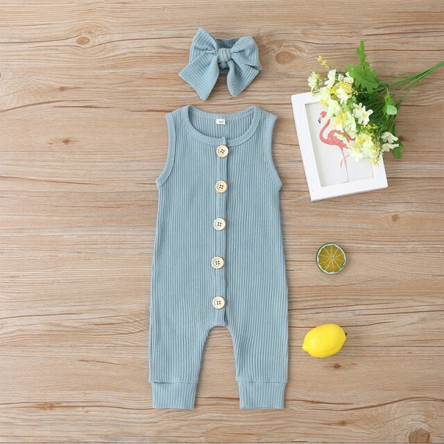 KARLEY BUTTON Romper - blue
