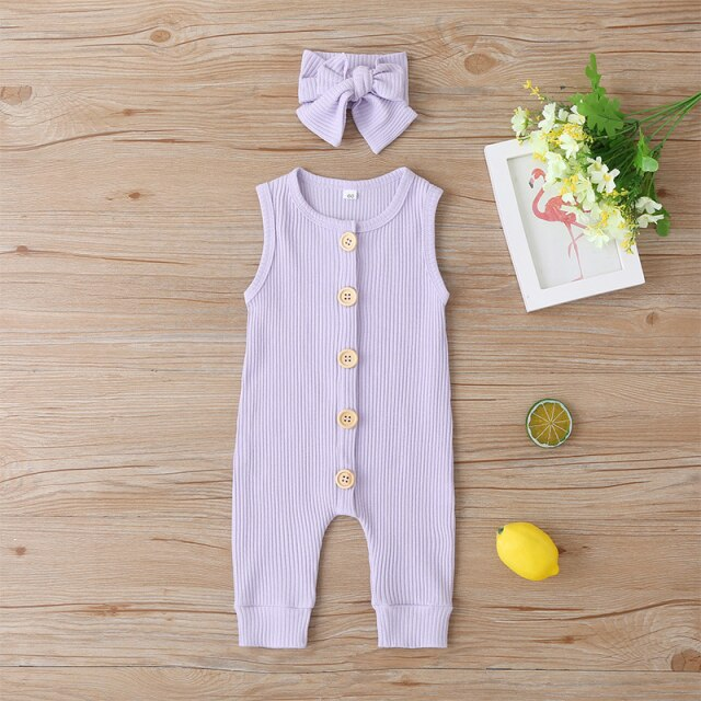 KARLEY BUTTON Romper - purple