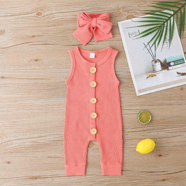 KARLEY BUTTON Romper - Orange
