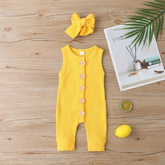 KARLEY BUTTON Romper - Yellow