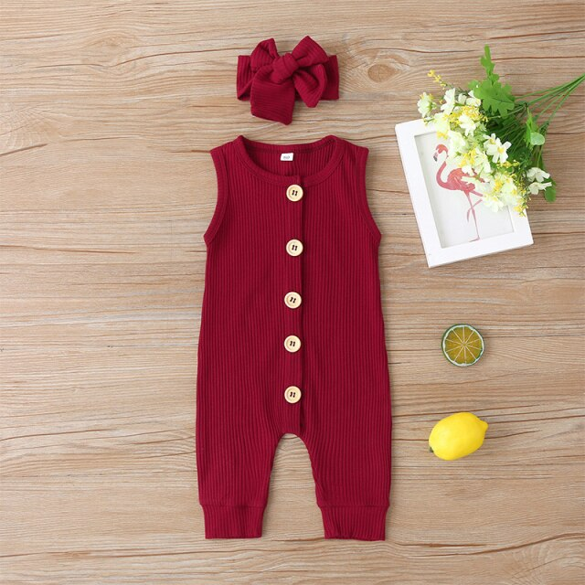 KARLEY BUTTON Romper - Wine Red