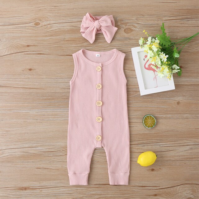 KARLEY BUTTON Romper - Pink