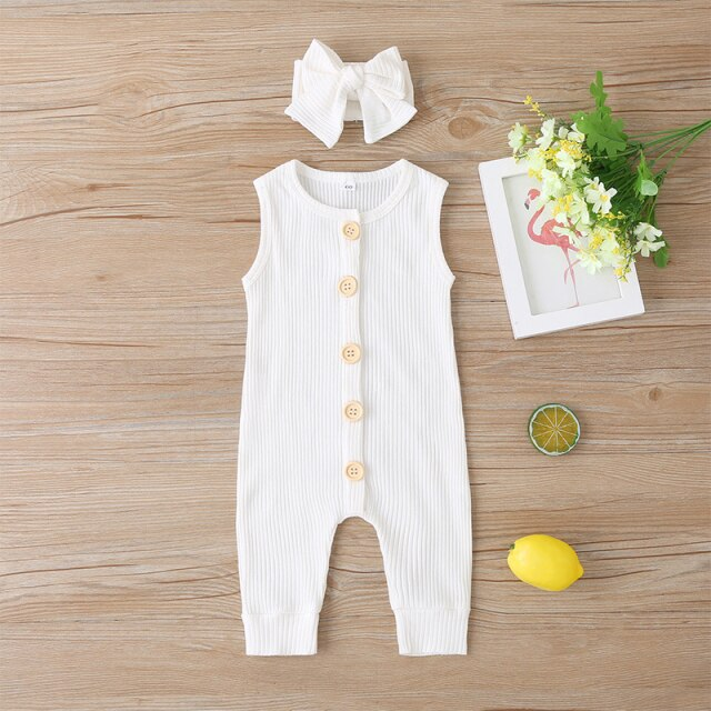 KARLEY BUTTON Romper - White
