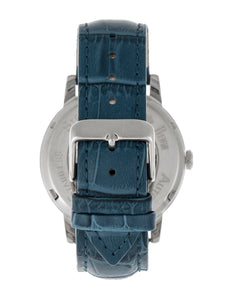 Reign Belfour Automatic Skeleton Leather-Band Watch - Silver/Blue - REIRN3603