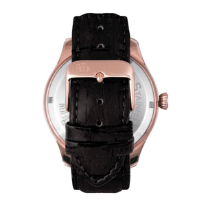 Reign Gustaf Automatic Leather-Band Watch - Black/Rose Gold - REIRN1505