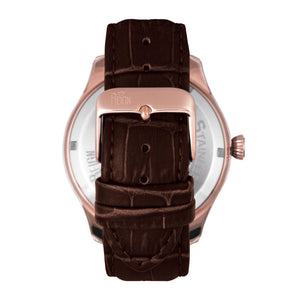 Reign Gustaf Automatic Leather-Band Watch - Brown/Rose Gold - REIRN1504
