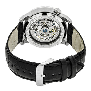 Reign Xavier Automatic Skeleton Leather-Band Watch - Silver/Black - REIRN3902