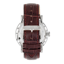 Load image into Gallery viewer, Reign Stavros Automatic Skeleton Leather-Band Watch - Silver/Dark Brown - REIRN3701