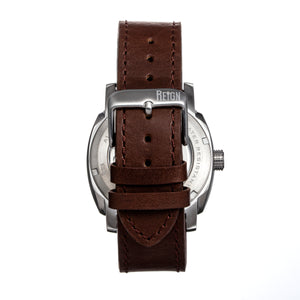 Reign Impaler Semi-Skeleton Leather-Band Watch - Blue/Brown - REIRN6105
