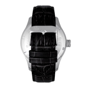 Reign Bhutan Leather-Band Automatic Watch - Silver/Black - REIRN1602
