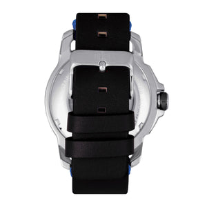 Reign Monarch Automatic Domed Leather-Band Watch - Silver/Black - REIRN5201