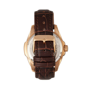 Reign Henley Automatic Semi-Skeleton Leather-Band Watch - Rose Gold/Brown - REIRN4506
