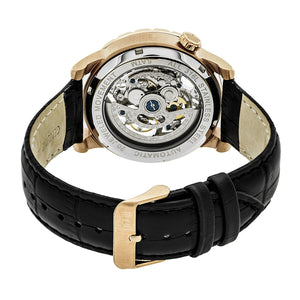 Reign Xavier Automatic Skeleton Leather-Band Watch - Rose Gold/Black - REIRN3906