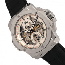 Load image into Gallery viewer, Reign Commodus Automatic Skeleton Leather-Band Watch - Silver - REIRN4001
