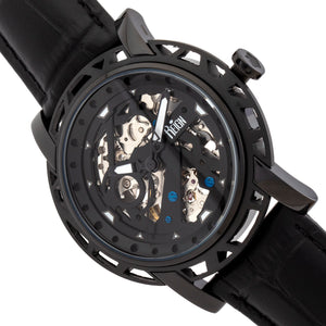 Reign Stavros Automatic Skeleton Leather-Band Watch - Black - REIRN3705