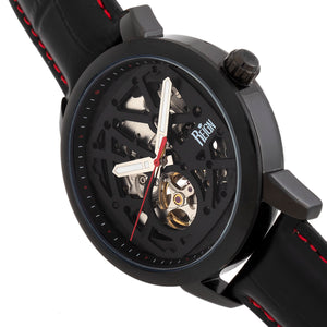 Reign Rudolf Automatic Skeleton Leather-Band Watch - Black/Red - REIRN5904
