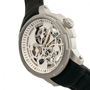 Reign Matheson Automatic Skeleton Dial Leather-Band Watch - Black/White - REIRN5301