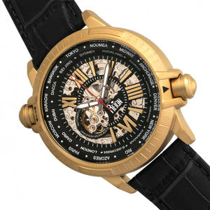 Reign Thanos Automatic Leather-Band Watch - Gold/Black - REIRN2105