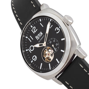 Reign Napoleon Automatic Semi-Skeleton Leather-Band Watch - Silver/Black - REIRN5801