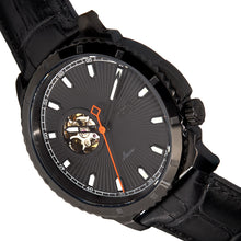Load image into Gallery viewer, Reign Bauer Automatic Semi-Skeleton Leather-Band Watch - Black - REIRN6007