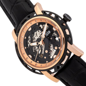 Reign Stavros Automatic Skeleton Leather-Band Watch - Rose Gold/Black - REIRN3706
