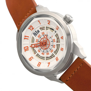 Reign Lafleur Automatic Leather-Band Watch w/Date - Silver/Orange - REIRN5402