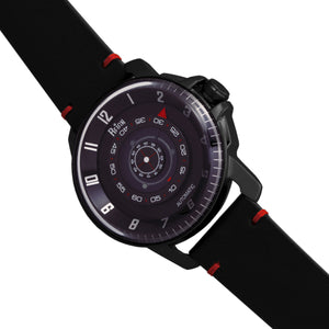 Reign Monarch Automatic Domed Leather-Band Watch - Black - REIRN5204