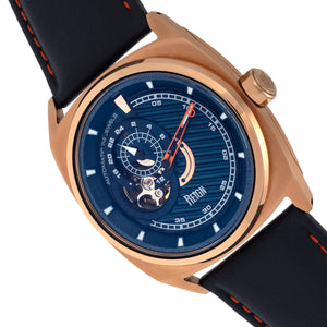 Reign Astro Semi-Skeleton Leather-Band Watch - Rose Gold/Navy - REIRN5504