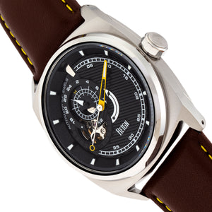 Reign Astro Semi-Skeleton Leather-Band Watch - Silver/Brown - REIRN5502