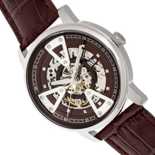 Load image into Gallery viewer, Reign Belfour Automatic Skeleton Leather-Band Watch - Silver/Brown - REIRN3602