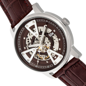 Reign Belfour Automatic Skeleton Leather-Band Watch - Silver/Brown - REIRN3602