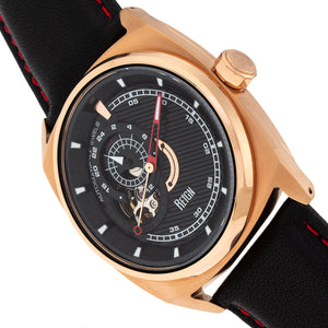 Reign Astro Semi-Skeleton Leather-Band Watch - Rose Gold/Black - REIRN5503