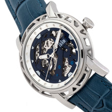 Load image into Gallery viewer, Reign Stavros Automatic Skeleton Leather-Band Watch - Silver/Navy - REIRN3702