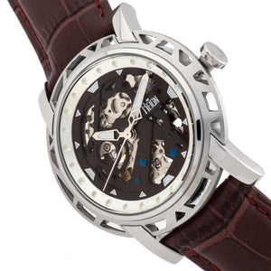 Reign Stavros Automatic Skeleton Leather-Band Watch - Silver/Dark Brown - REIRN3701