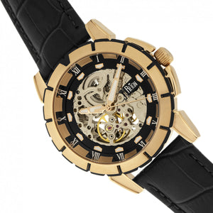 Reign Philippe Automatic Skeleton Leather-Band Watch - Gold/Black - REIRN4605
