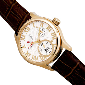 Reign Bhutan Leather-Band Automatic Watch - Gold/Silver - REIRN1605