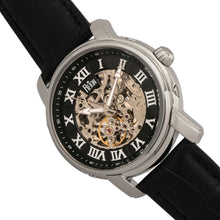 Load image into Gallery viewer, Reign Kahn Automatic Skeleton Leather-Band Watch - Silver/Black - REIRN4304
