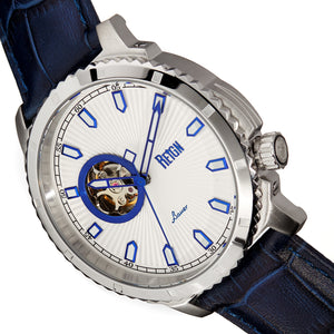 Reign Bauer Automatic Semi-Skeleton Leather-Band Watch - Silver/Blue - REIRN6003