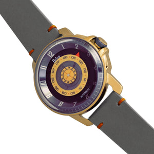Reign Monarch Automatic Domed Leather-Band Watch - Gold/Grey - REIRN5202