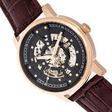 Load image into Gallery viewer, Reign Belfour Automatic Skeleton Leather-Band Watch - Rose Gold/Black - REIRN3605