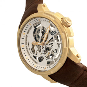 Reign Matheson Automatic Skeleton Dial Leather-Band Watch - Brown/Gold - REIRN5303