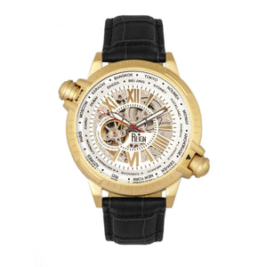 Reign Thanos Automatic Leather-Band Watch - Gold/White - REIRN2106