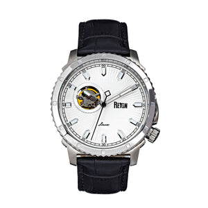 Reign Bauer Automatic Semi-Skeleton Leather-Band Watch - Silver/White - REIRN6001